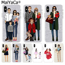 MaiYaCa Black Brown Hair Baby Mom Girl princess High Quality phone case for Apple iPhone 8 7 6 6S Plus X XS max 5 5S SE XR Cover(China)