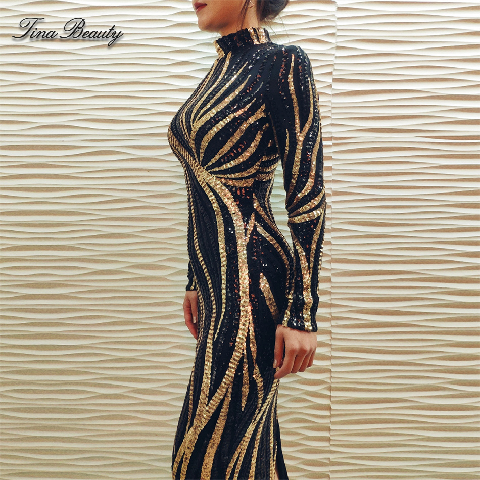 Glittering Womens Turtleneck Long Sleeve Sequin Maxi Bodycon Dress Elegant Stretch Geometrical Foil Party Dress Vestidos