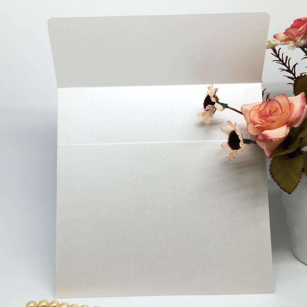 10Pcs/set White Iridescent Paper Wedding Invitation Card Envelope ...