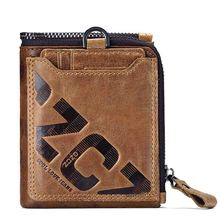 Genuine Leather Men Wallet Fashion Coin Purse Card Holder Small   Portomonee Male Clutch Zipper Clamp For Money small fashion famous brand handy mini portomonee men wallet coin purse male clutch bags with slim coin money cuzdan vallet walet