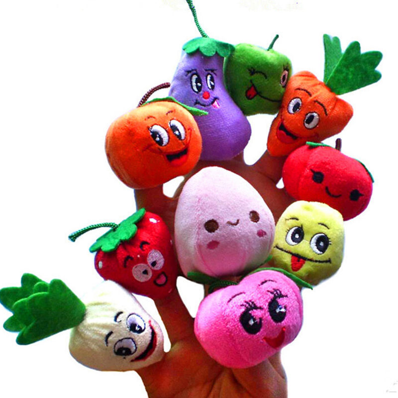 Hot Sales 10x Cartoon carrot orange Fruit Vegetables Finger Puppet Plush Toys Dolls Child Baby Favor Toys Gifts image