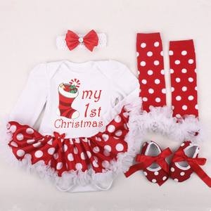 Dress Clothing-Set Christmas-Dress-Set Newborn Girl Ruffles Cotton Mesh 1st 4pcs