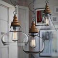 Vintage Lamp Shades Industry Metal Pendant Lamps Chandelier Simple and Creative Glass Hanging Light Shade Edison Bulb Covers