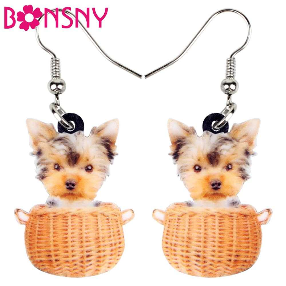 Bonsny Acrylic Sweet Basket Of Tiny Yorkshire Terrier Dog Earrings Dangle Drop Cartoon Animal Jewelry For Women Girls Wholesale