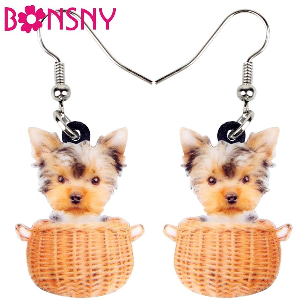 BONSNY Christmas Yorkshire Terrier earrings jewellery Charm Dangle women girls