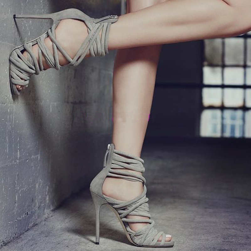High quality Summer Suede Zipped Hollow Out Pumps Thin High Heels Pointed Toe Stiletto Sexy Females Party Narrow Band Sandals denim zipper hollow worn stiletto womens sandals