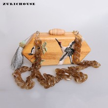 ZURICHOUSE Rhombus Wooden Bags Women Bird Design Handbag Luxury Geometric Shoulder Bag Messenger Evening Clutch