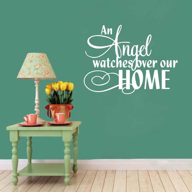 Free shipping an angel watchs over our home vinyl wall - Watch over the garden wall online free ...