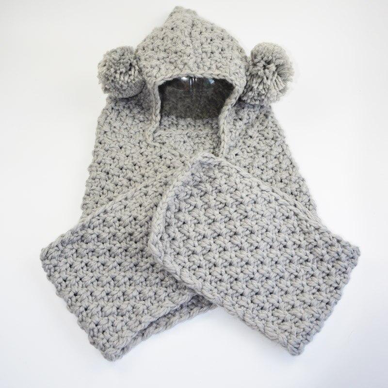 Recién llegado gorro de invierno para niños Crochet con capucha ...