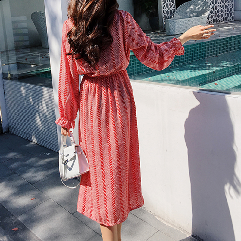 Women chiffon dress 2019 spring autumn female vintage print elegant a-line dress long sleeve loose casual office lady dress 5