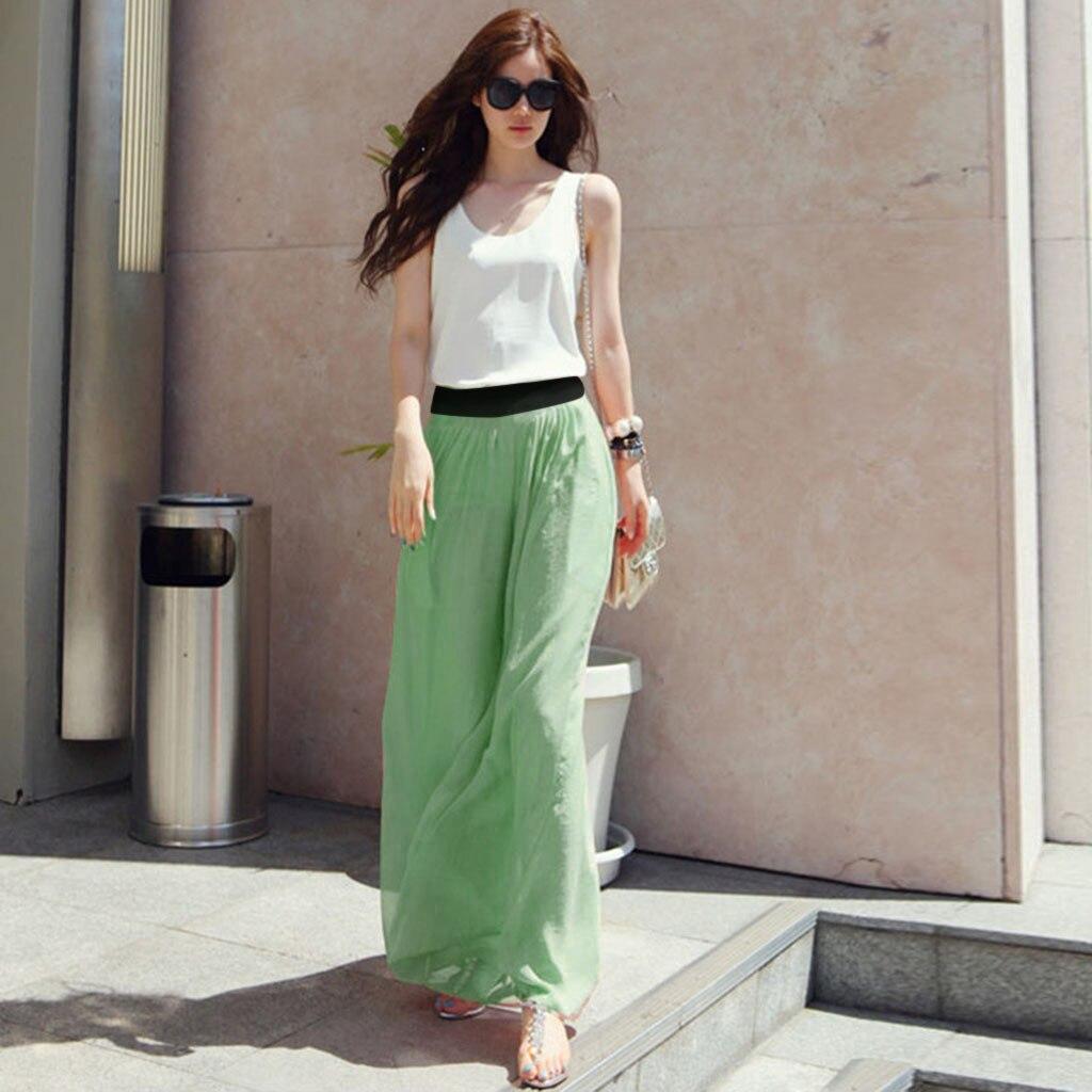 Summer Skirts Womens Pleated Skirt Women Casual Solid Stretch High Waist Skirt Plain Flared Pleated Long Skirt Jupe Femme
