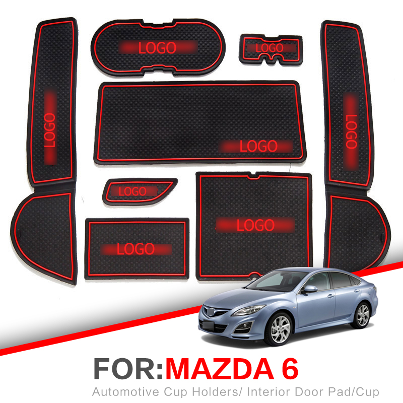 ZUNDUO Gate slot Mats For Mazda 6 2008~2013 GH Non-slip Interior Door Pad/Cup Non-slip mats Red WhiteZUNDUO Gate slot Mats For Mazda 6 2008~2013 GH Non-slip Interior Door Pad/Cup Non-slip mats Red White
