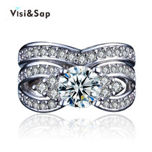 Visisap Palace Flowers Bridal Sets Ring Wedding Couple Rings For women Men AAA Cubic Zirconia fashion Jewelry Dropshipper VSR228