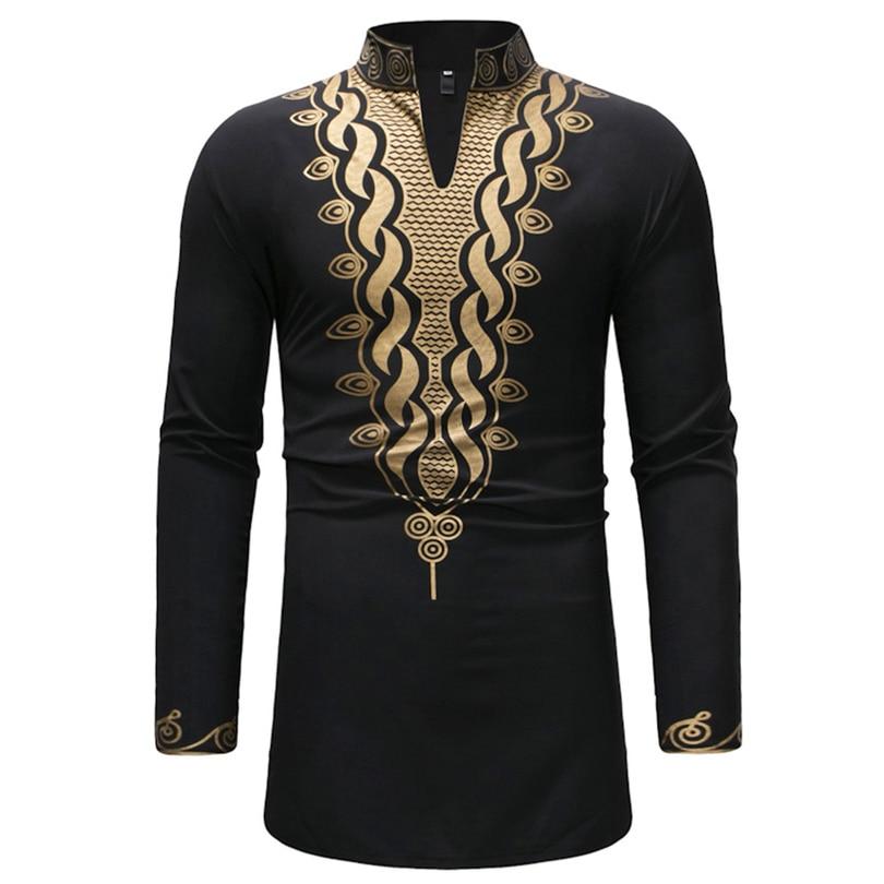 2019 Yeni Afrika Moda Uzun Kollu Erkek Giysileri Zengin Bazin Baskı Elbiseler Yetişkin Üstleri Dashiki Elbise Erkek Giyim M-3XL