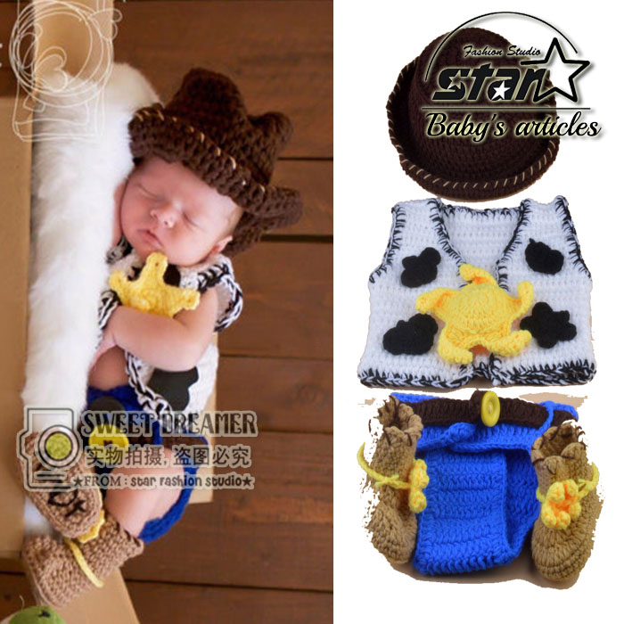 Baby Cowboy Style 4 Pieces Suit Newborn Handmade Beanies Costume Knitted Crochet  Baby Caps Hats Vest Shoes Suit Cosplay baby skullies boys caps headwear chapeau beanies