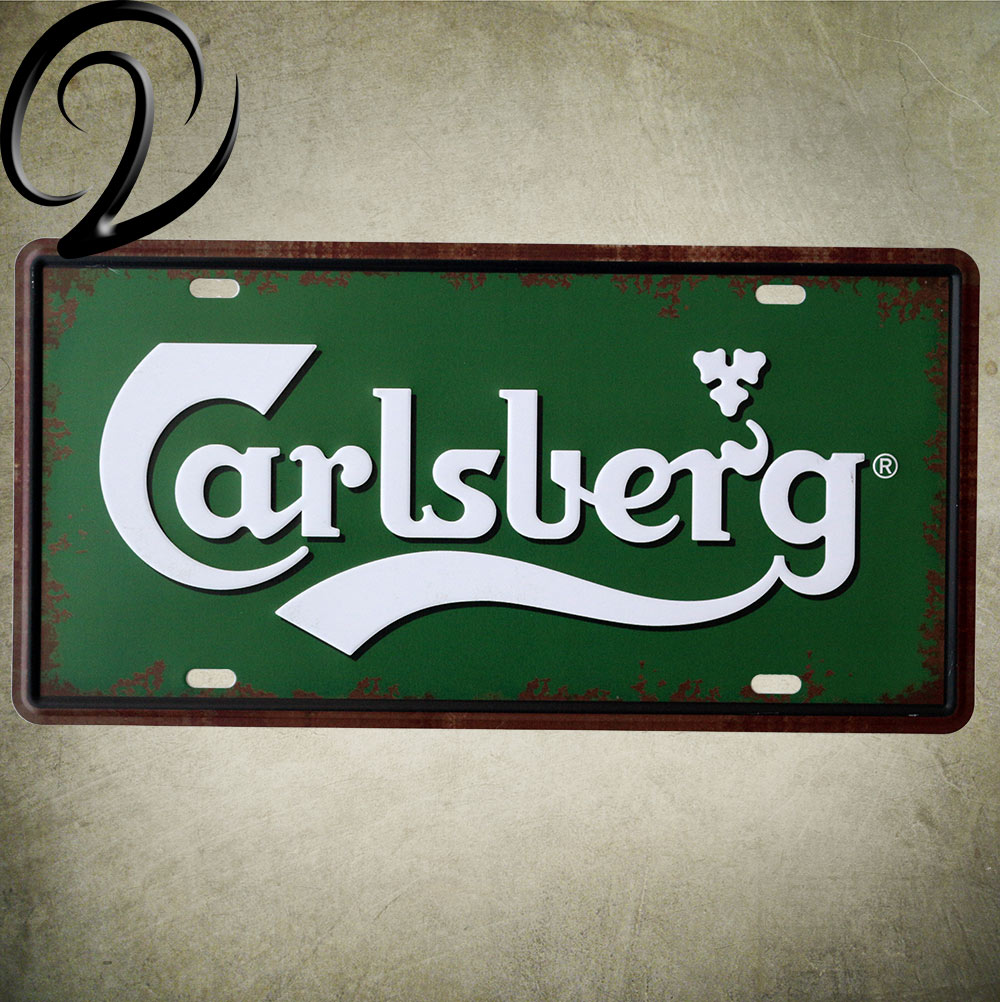 Carlsberg Famous Beer Sign 15*30 CM Shabby Chic Home Decor Vintage Car License Plate for Home Bar Coffee Beer Wall Decoration