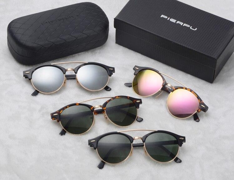 Femmes hommes mode Vintage marque Designer miroir G15 verre rond lunettes de soleil classique demi cadre Club rond lunettes de soleil 4346
