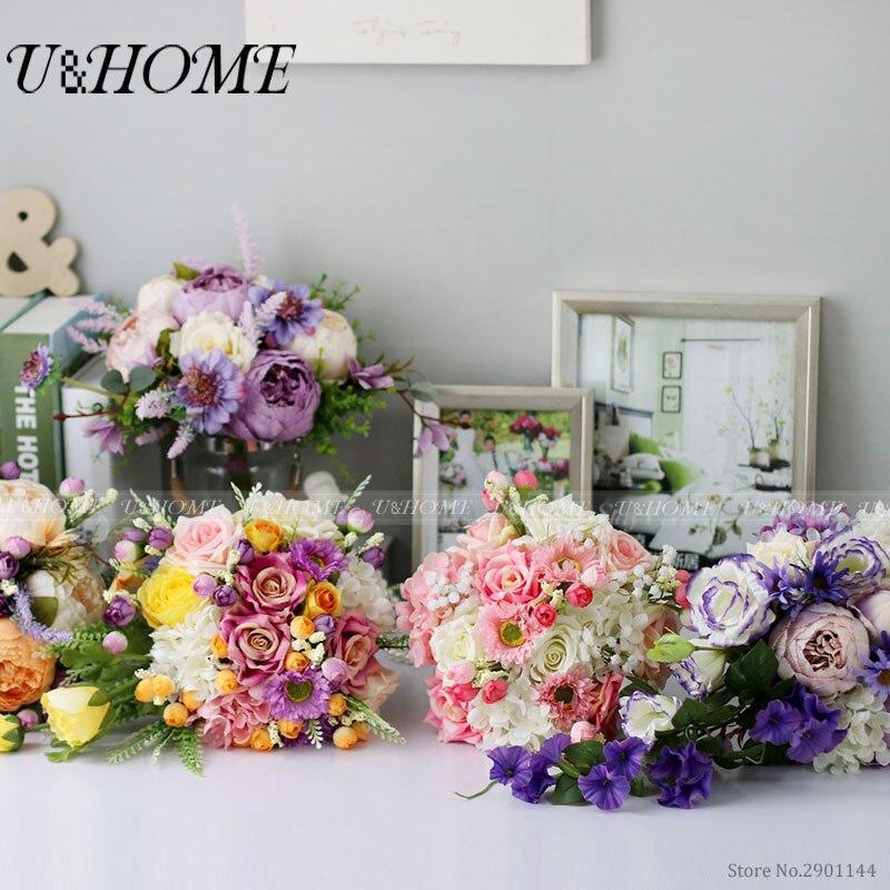U&Home Artificial DIY <font><b>flowers</b></font> 5 style bride bouquet silk peony plastic plant purple daisy grass for home wedding decoration bulk
