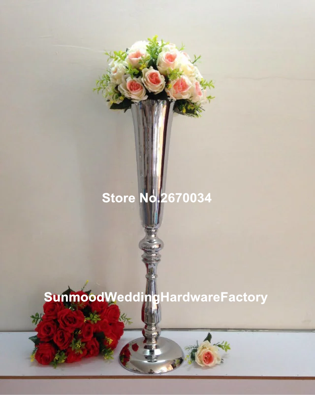 Round Trumpet Wholesale Table Mental Vases For Wedding Centerpieces