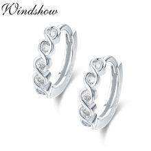 f7a11e414954 Lindo delgado de la plata esterlina 925 giro infinito CZ círculo pequeño  bucle Huggies aro pendientes de joyería de las mujeres .