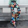 2017 Новая Мода Клеш Брюки женские Цветочный Печати Высокая Талия Flare Брюки Женские Повседневная Полная Длина Брюки Длинные брюки