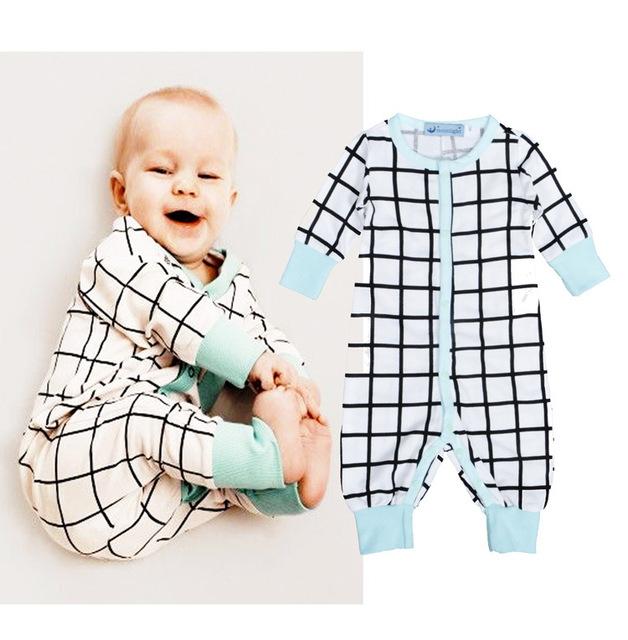 Venta caliente Mameluco batas Del bebé ropa niños niñas niños de manga larga a cuadros establece Bebés mono botton tapeta Costilla manguito