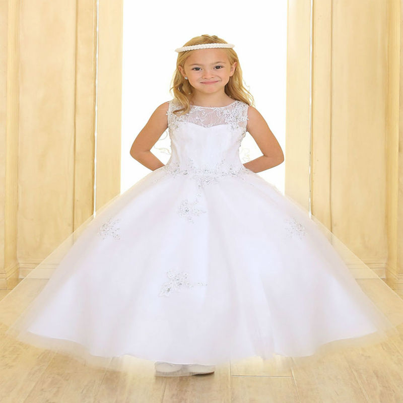Lace Up A-Line First Communion Dresses for Girls Lace Flower Girl Dresses for Wedding Ankle-Length Mother Daughter Dresses