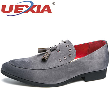 UEXIA 2018 Brogue Dress Men Shoes Oxford Suede Leather Elegant Formal Business Classic Office Wedding Mens Casual Shoes Tassels suede