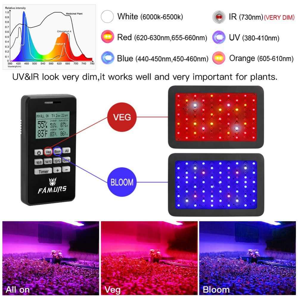 Famurs светодиодный светильник для выращивания 2шт 1000 Вт полный спектр Вег/Цветение таймер группа дистанционное управление лампа для растений Крытый Фито лампа для выращивания тент