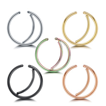 Mixed Colors 5Pcs/Lot Moon Indian Nose Ring Hoop Septum Jewelry Daith Piercing Ear Cartilage Tragus Helix Earrings