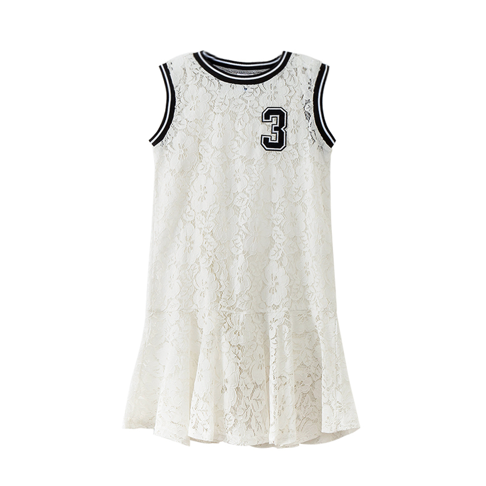 B-S17 New Fashion Spring Girls Casual Dresses Summer Child sleeveless Princess Dress 5-14T Teenager Kids Solid Color Lace Dress bar iii new cream combo sleeveless lace peplum dress s $79 dbfl