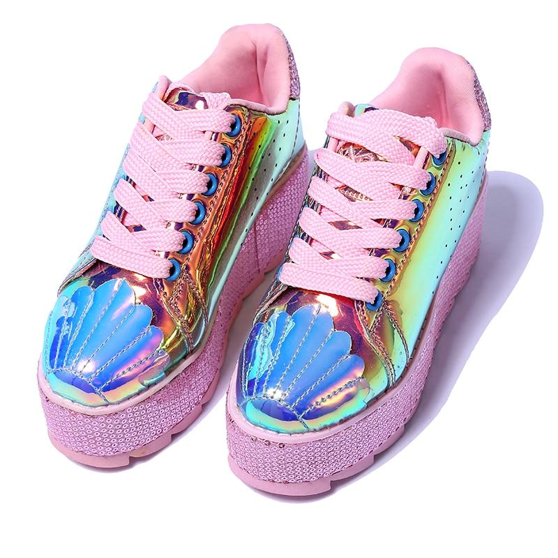 Casuales Punta Cuero Zapatillas Metálico Venta De Gran Zapatos Redonda Aumento Encaje Con Altura Para Mujer Vintage Rosado Plataforma qFZpwP