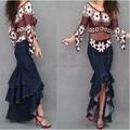 Women's Long Denim Skirts Fishtail Mermaid Ruffles Floor Fashion Special Maxi Skirts Mermaid Plus Size XL
