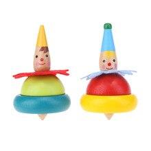 2 шт деревянная игрушка-клоун Детский вращающийся детский стакан для роста интеллекта детский классический гироскоп обучающий деревянный спиннинг