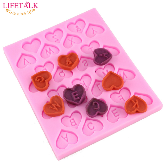 2016 New Heart Shape Letter Design Chocolate Candy Silicone Mold
