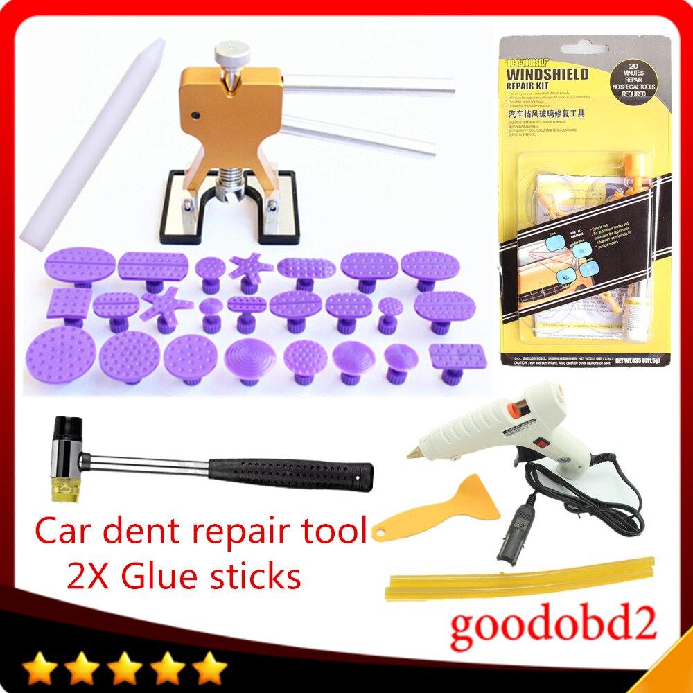 Ensemble d'outils de réparation de voiture PDR dent outils de réparation sans peinture pour véhicule professionnel + bâtons de colle avec pistolet à colle 12 V + outils de verre pare-brise