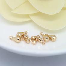 20PCS 3*6MM 4x8MM 24K Champagne Gold Color Plated Brass Drop Shape End Beads High Quality Diy Jewelry Accessories pack of 30 x golden plated brass 5 x 8mm kumihimo bell shape end caps ha03323 charming beads