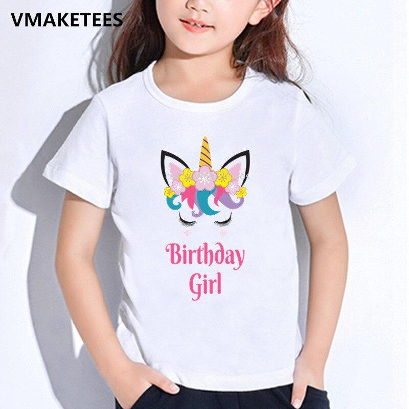 Kids Summer T shirt Happy Birthday Girl Unicorn Face Print Children's  T-shirt Baby Girls Funny Gift Cute Cartoon Clothes,HKP5249
