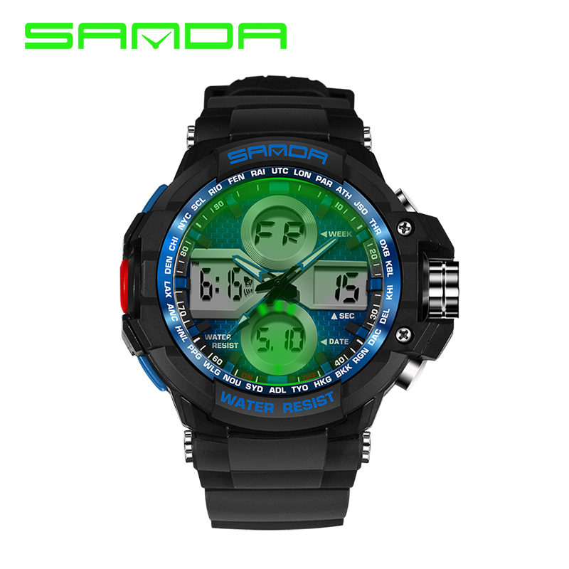 SANDA Brand 7 Color Backlights Sport Watch Men Chronograph Military Watch Waterproof Swim Diving Clock For