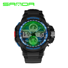 SANDA Marca 7 Colores de la Pantalla Reloj Deportivo Hombres Reloj Cronógrafo Militar Impermeable Reloj de Buceo de Natación Para Los Hombres relogio masculino