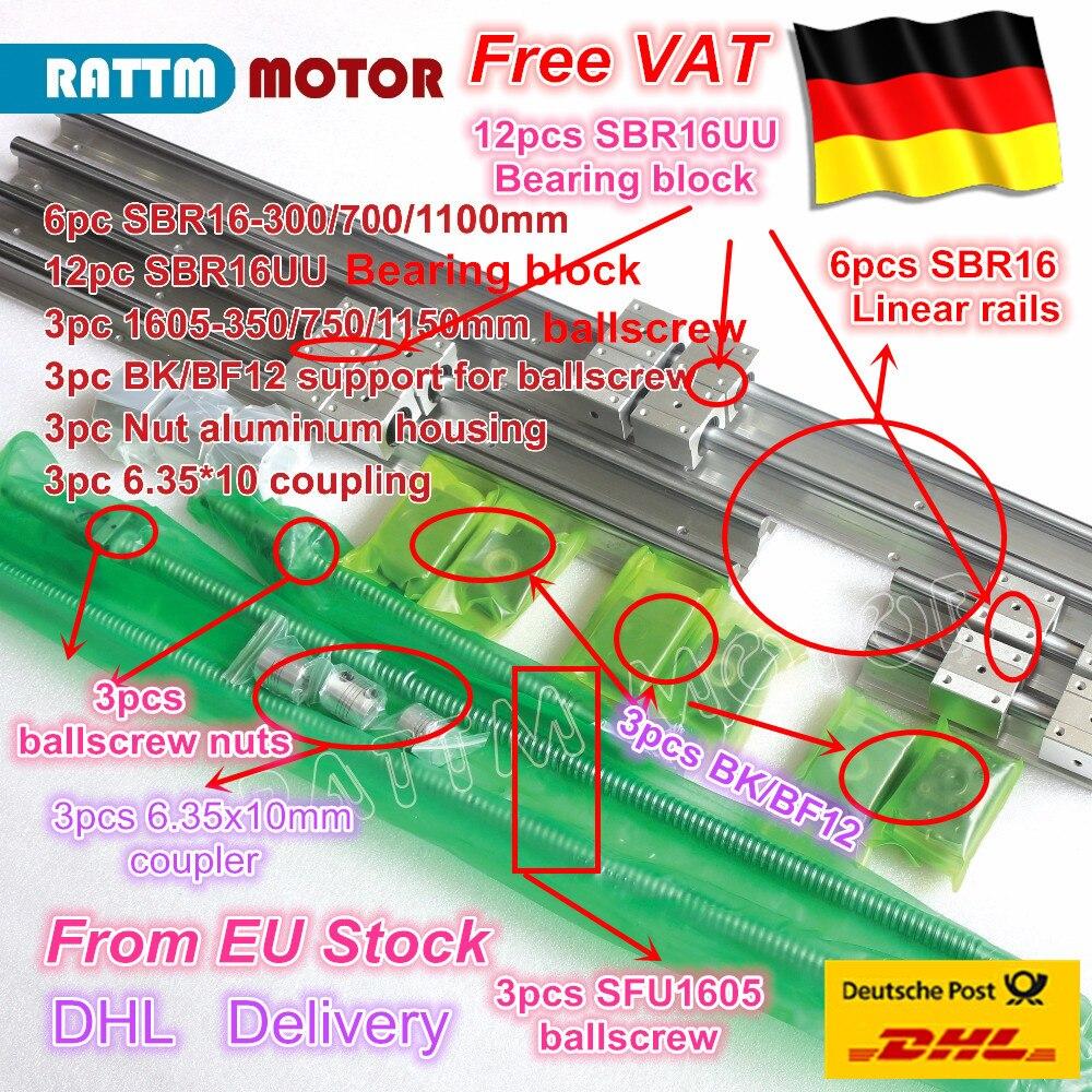 3 компл. линейные рельсы SBR16 L-300/700/1100 мм и 3 компл. Ballscrew СФУ/RM1605-350/750/1150 мм и гайки и 3 компл. BK/B12 и муфта для ЧПУ