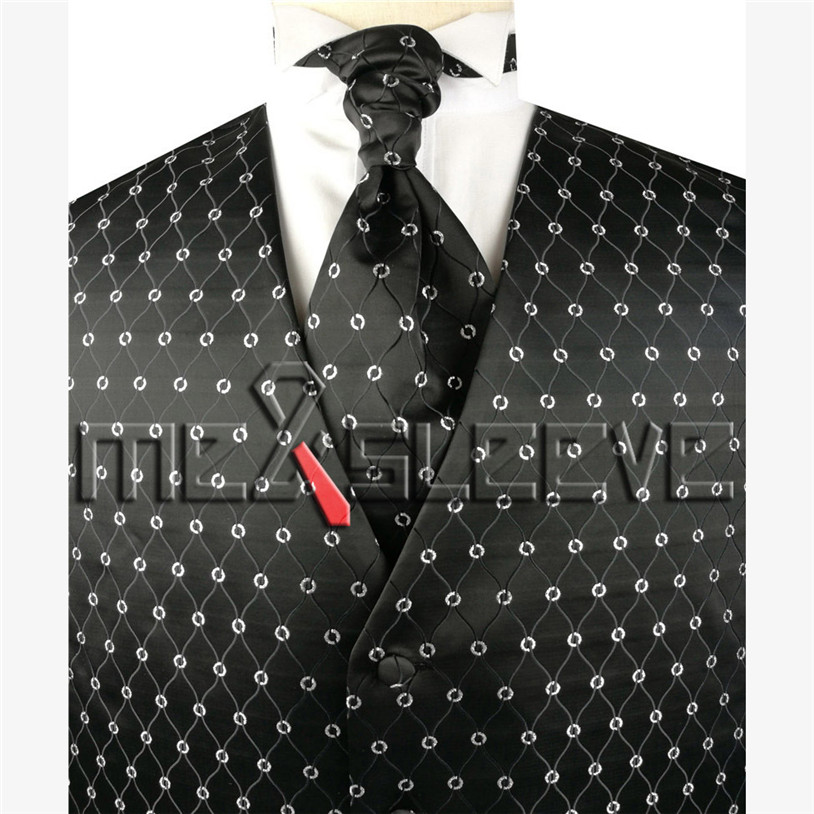 New arrival free shipping black basic and silver pattern formal vest and tie set vest ascot
