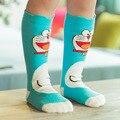 Jiabi Nuevo 2016 Niños Niños Calcetines Hasta La Rodilla Niñas Corea Lindo Doraemon de Dibujos Animados de Algodón Calcetines de Bebé Calcetines Largos