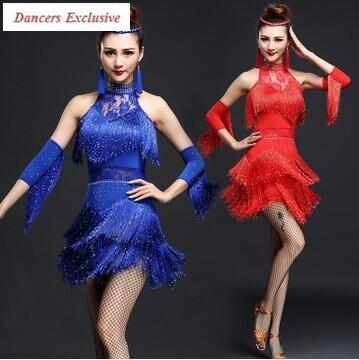 4 sortes de couleurs costume de danse latine sexy lait soie demi manches gland robe de danse latine pour les femmes robe de costume de danse latine