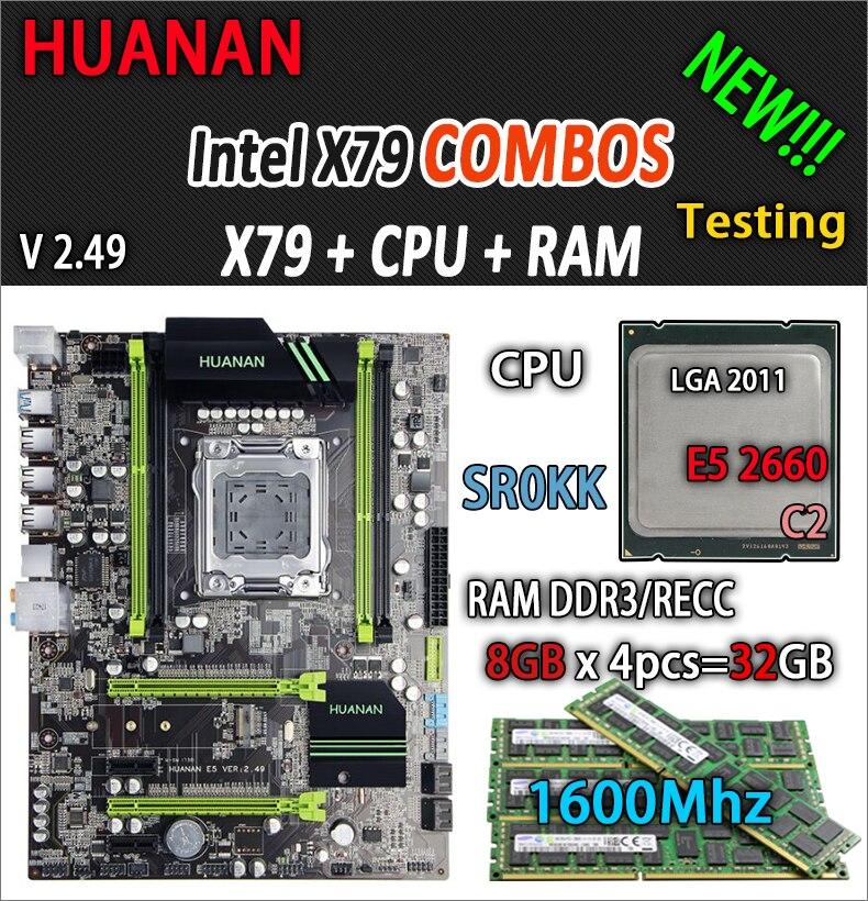 ХУАНАНЬ золотой В2.Материнская плата формата ATX на базе чипсета X79 49 сокета LGA2011 комбо е5 2660 С2 SR0KK 4 х 8 ГБ 32 ГБ 1600мгц с USB3.0 С SATA3 PCI-Е М. новейшая 2 ССД