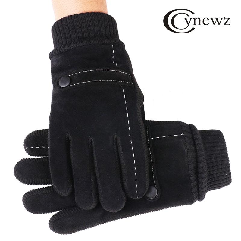 New Men/'s Winter Warm Pigskin Gloves Outdoor Leather Full Finger  bbgg