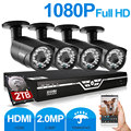 ZOSI 4CH 1080 P HDMI P2P DVR Sistema de Vigilância de Vídeo de Saída 4 PCS 2000TVL 2.0MP Câmera IP Home Security CCTV Kits 2 TB HDD