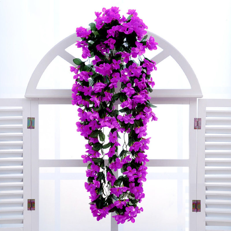 Leafy violet artificial silk flowers vine rattan wedding home decor leafy violet artificial silk flowers vine rattan wedding home decor outdoor corridor hanging baskets wall fake diy bouquet f3 in figurines miniatures from mightylinksfo