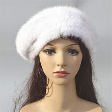 Real mink fur beret hat women winter warm white red brown knitted elegant ladies winter hat warm knitted fur capsH52