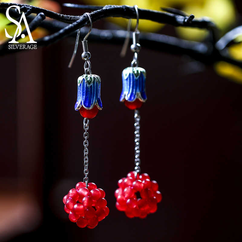 SA SILVERAGE Drop Earrings Woman Original Jade Earrings Beautiful Cloisonne Weaving Creative Grape Ball Chinese Characteristics